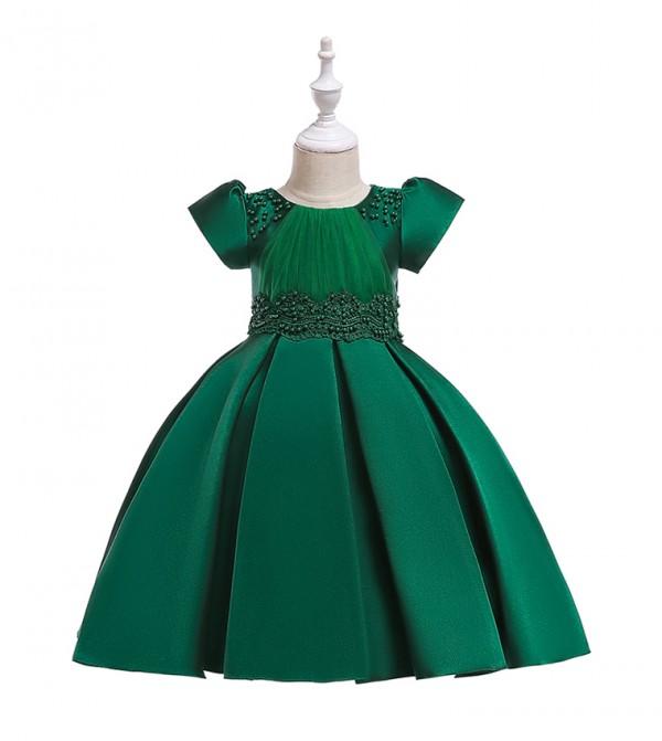 فستان حفلات بأكمام قصيرة مزين بخرز