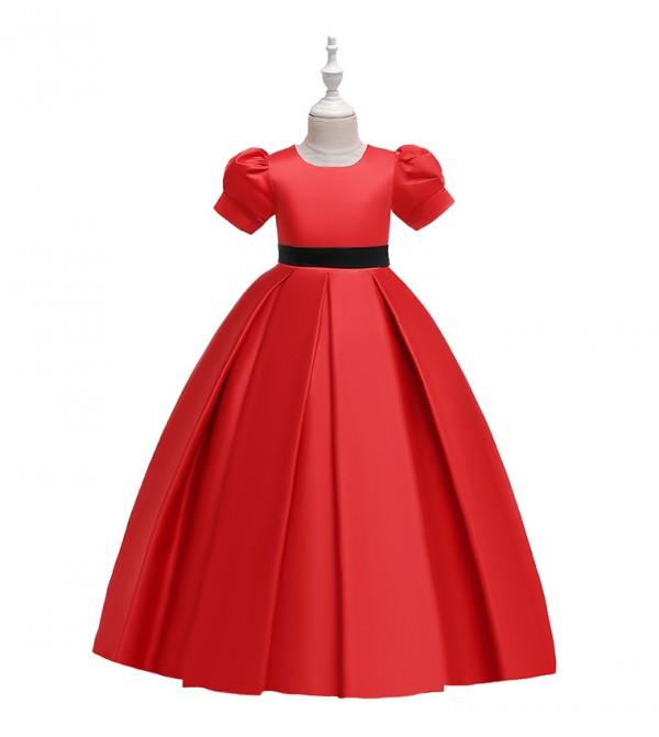 فستان حفلات بأكمام قصيرة مزين بورود