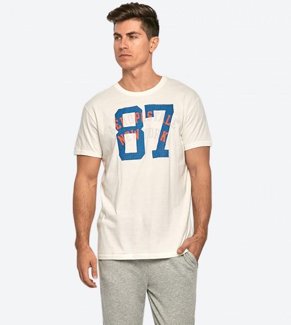 87 Printed Short Sleeve Round Neck T-Shirt - Off White