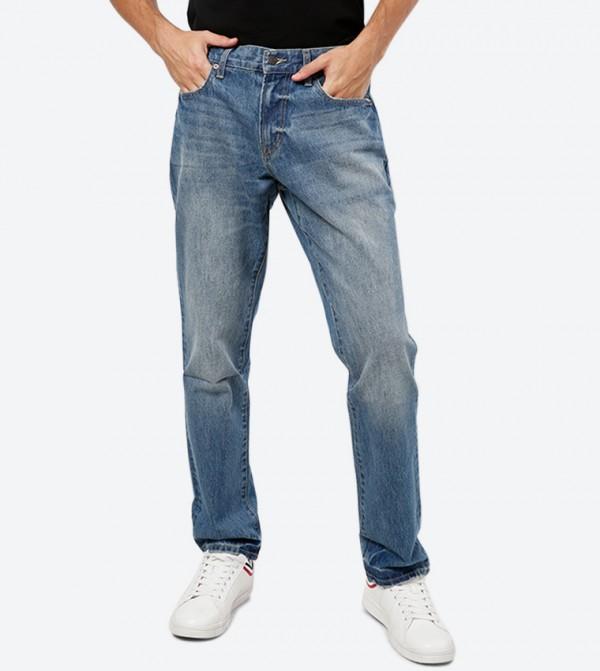 بنطال جينز بخمس جيوب مع زر وسحاب للإغلاق لون أزرق