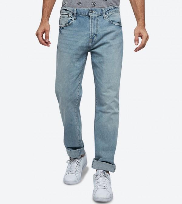 5-Pocket Button Closure Zip Fly Jeans - Light Blue