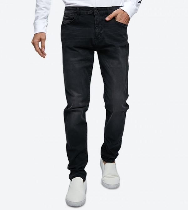 5-Pocket Button Closure Zip Fly Jeans - Black