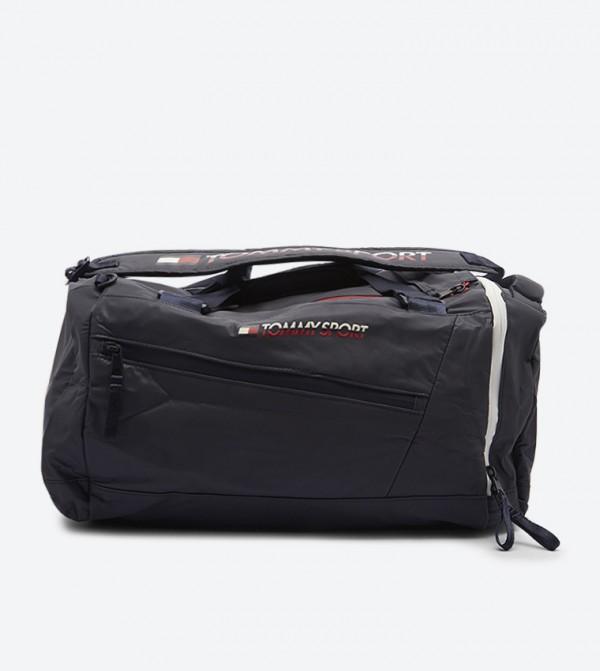 Convertible Zipper Pocket Shoulder Strap Duffle Bag - Blue