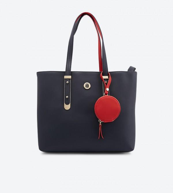 حقيبة بمقابض علوية وحزام للكتف لون كحلي
