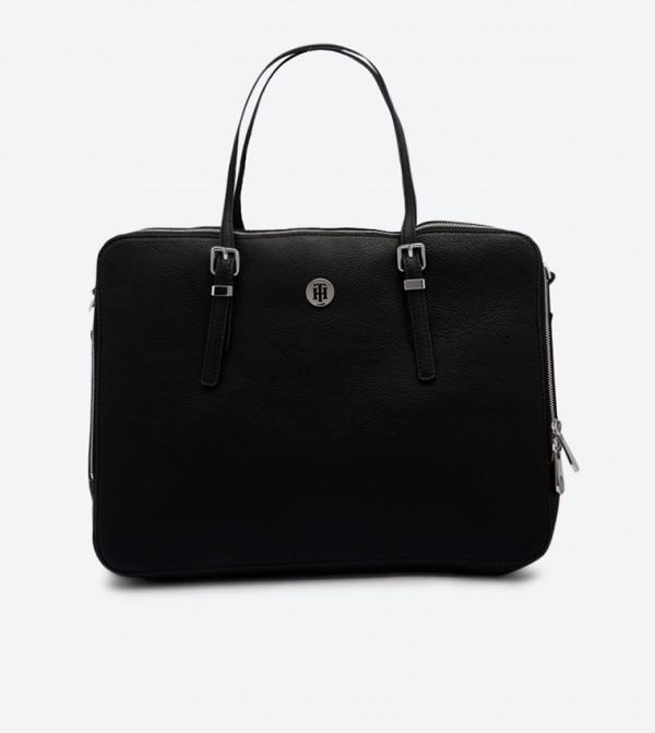 Honey Zip Closure Double Grab Handle Computer Bag - Black