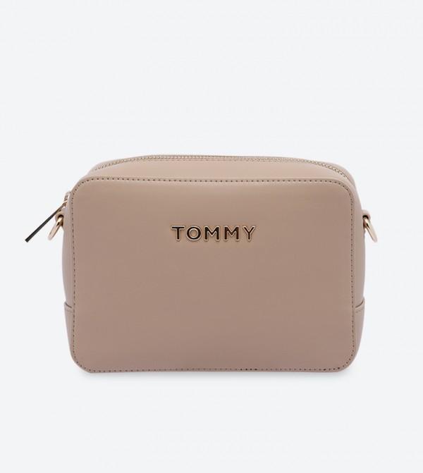 Iconic Zip Closure Trendy Cross Body Bag - Beige