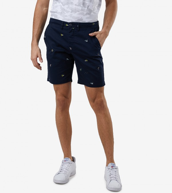 Button Closure With Belt Loop Shorts - Blue