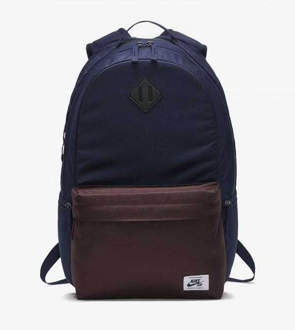 Colourblocked Multiple Pockets Zip Closure Backpack - Blue