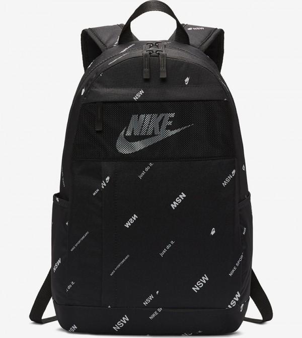 Multiple Pockets Zip Closure Backpack - Black