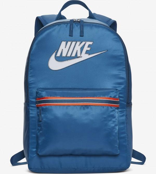 Multiple Pockets Zip Closure Backpack - Blue