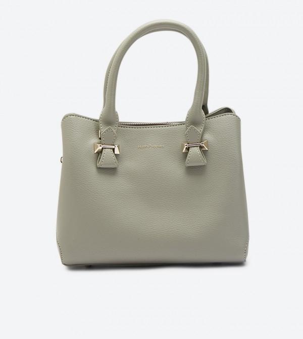 Minley Top Handle Zip Closure Tote Bag - Grey