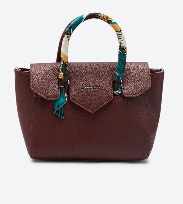 Aster Front Flap Details Zip Closure Tote Bag - Purple