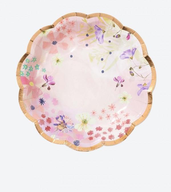 طقم أطباقللإحتفالات بأشكال أزهار (12 قطعة) متعددة الألوان
