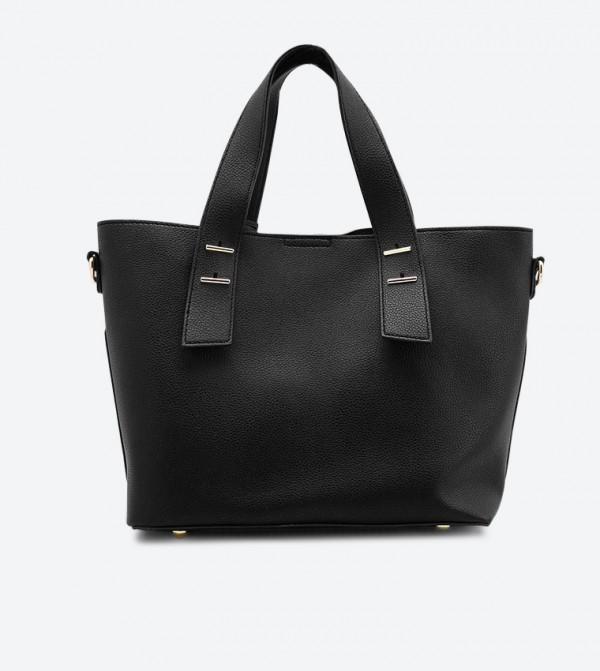 حقيبة يد مع حقيبة صغيرة بلون أسود