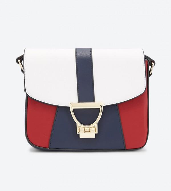 حقيبة بحمالة كتف طويلة متعددة الألوان