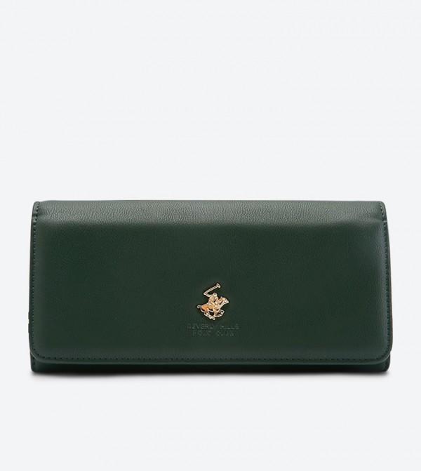 محفظة بشعار معدني لون أخضر