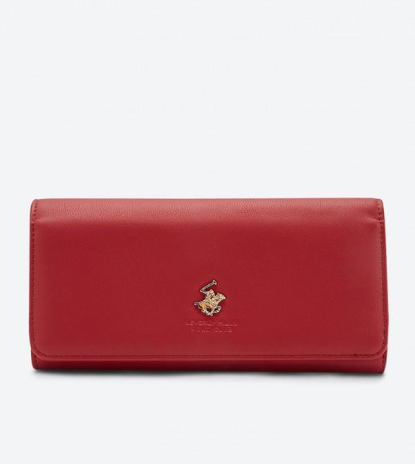 محفظة بشعار معدني لون أحمر