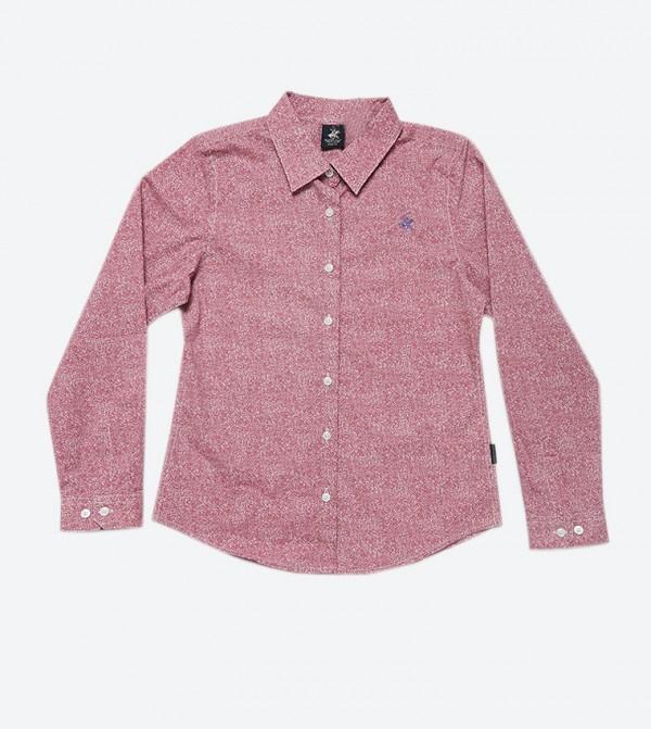 قميص مطبع بأكمام طويلة لون أحمر