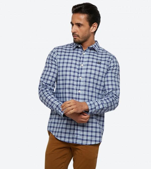قميص بأكمام طويلة لون أزرق