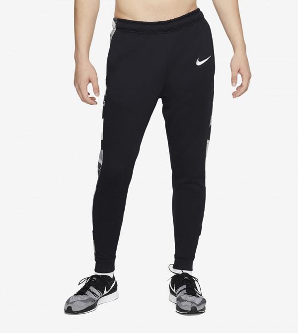 Logo Print Pants - Black