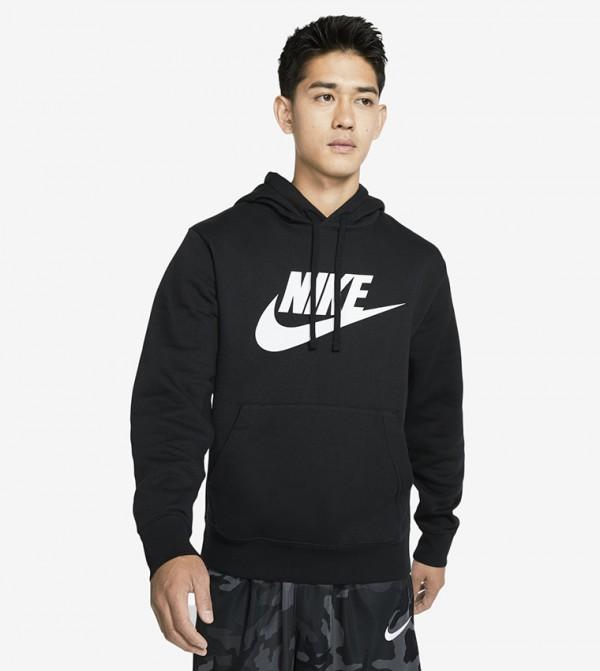 Printed Kangaroo Pocket Hooded SweaT-shirt - Black