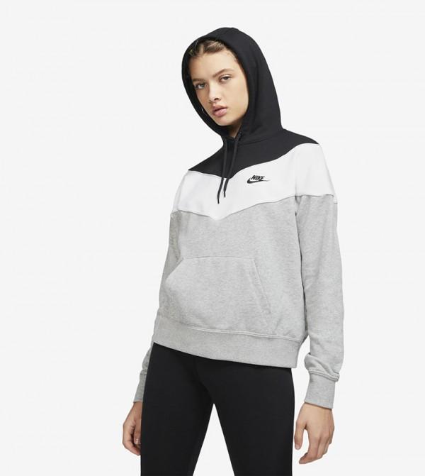 Printed Kangaroo Pocket Hooded SweaT-shirt - Grey