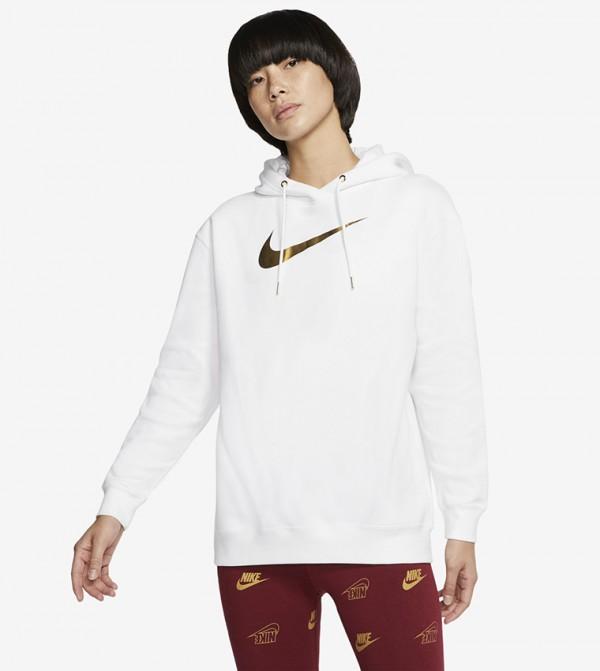 Printed Kangaroo Pocket Hooded SweaT-shirt - White