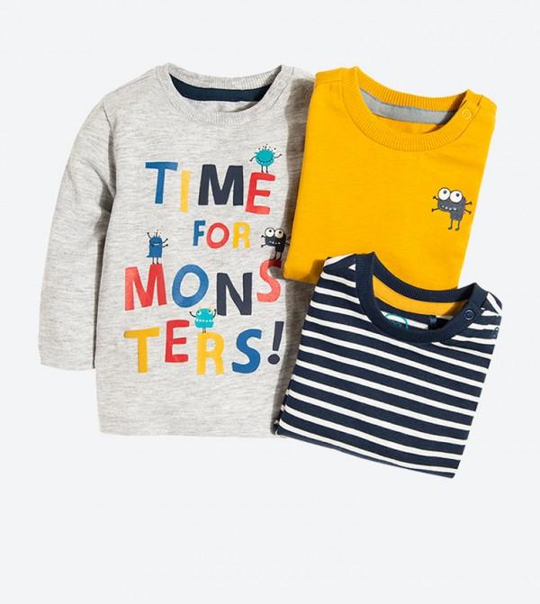 Long Sleeve Round Neck T-Shirt Set (3 Pcs) - Multi
