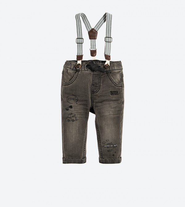 Wash Effect Jeans with Suspenders - Grey
