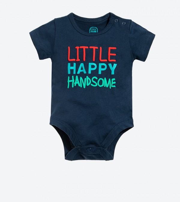 Little Happy Handsome Printed Short Sleeve Body Suit - Navy