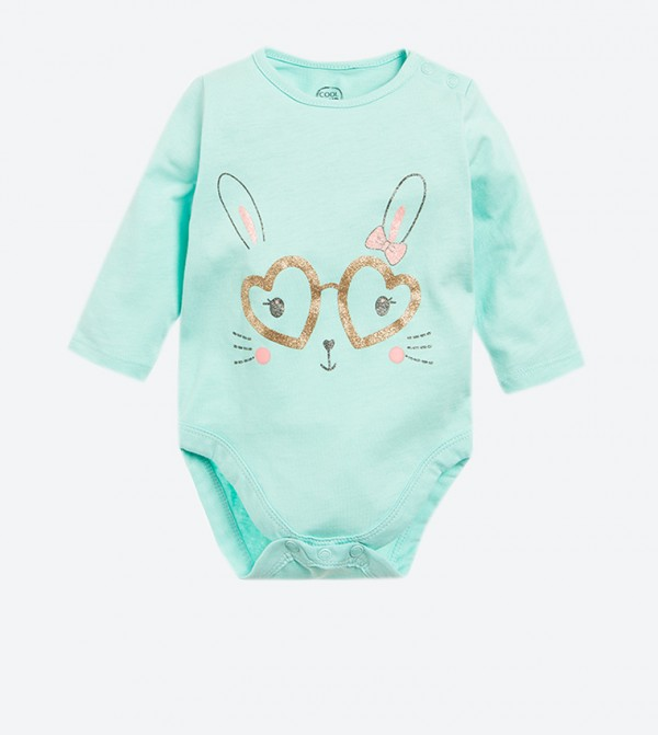 Long Sleeve Graphic Printed Baby Suit - Blue