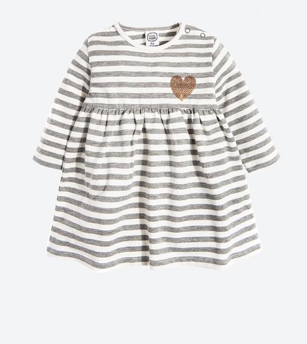 Long Sleeve Striped Printed Midi Dress - Grey
