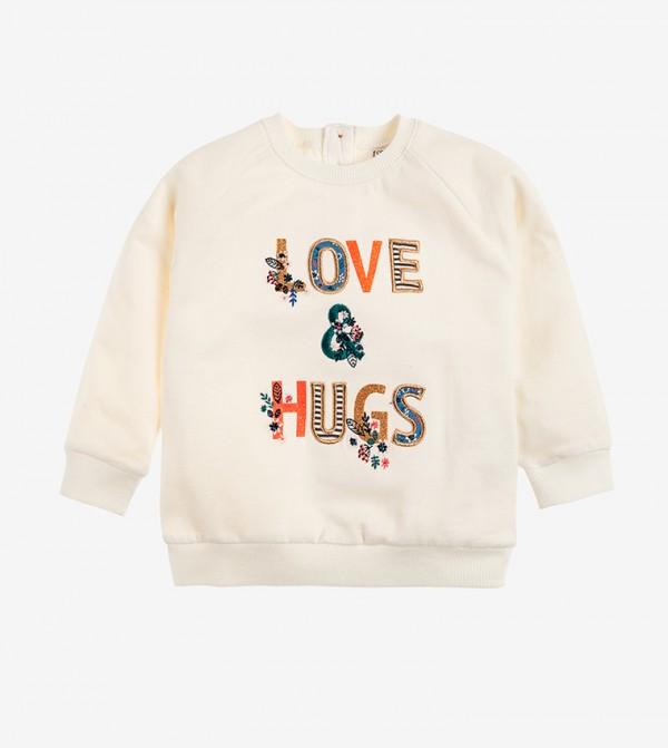 Long Sleeve Round Neck Sweater - White