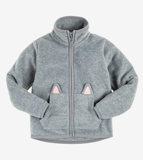Long Sleeve Round Neck Sweater - Grey