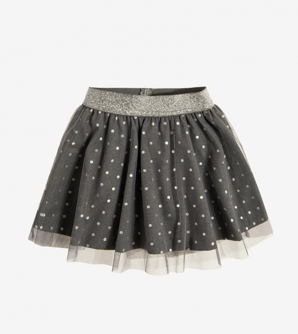 Elasticated waistband mini skirt - Grey