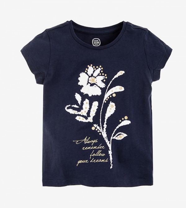 Short Sleeve Round Neck Tshirt - Blue