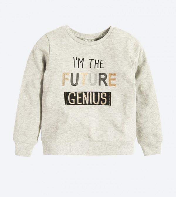 Text Printed Long Sleeve Sweatshirt - Grey
