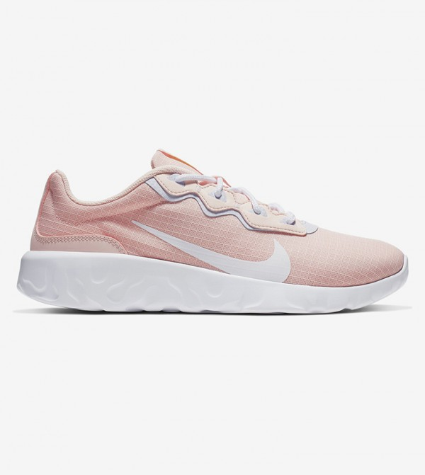 Logo Print Lace Up Sneakers - Pink