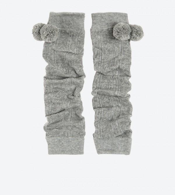 جوارب طويلة دافئة - رصاصي