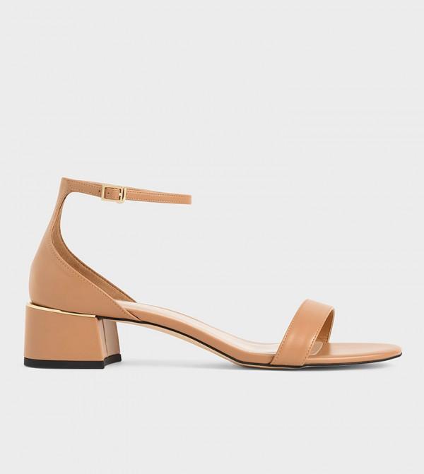 Ankle Strap Heeled Sandals  - Caramel