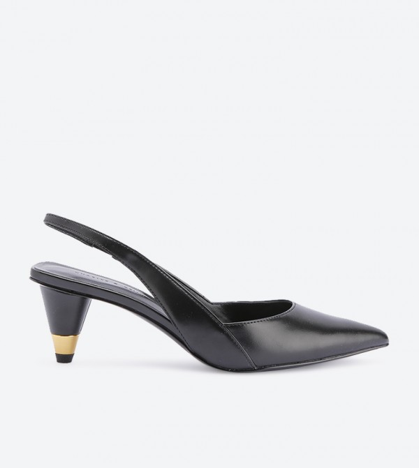 Gold Accent Cone Heel Slingback Pumps - Black