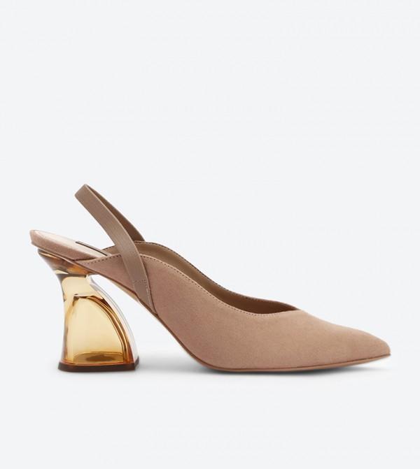 58273418ff0 Lucite Sculptural Heel Slingback Sandals - Nude CK1-60361110