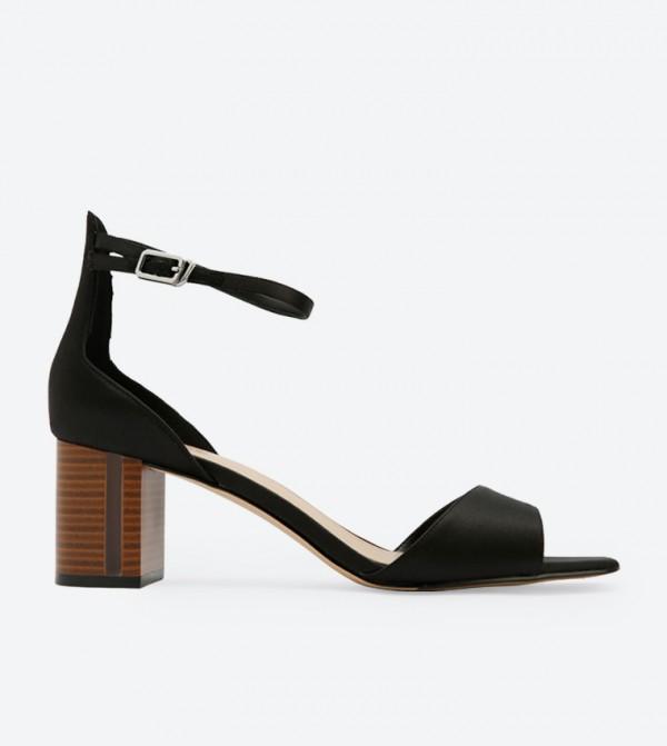 Wooden Block Heel Sandals Black Ck1 60361134