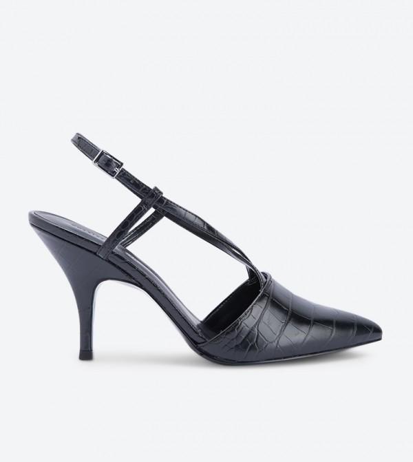 حذاء كعب عالي بنمط جلد التمساح لون أسود