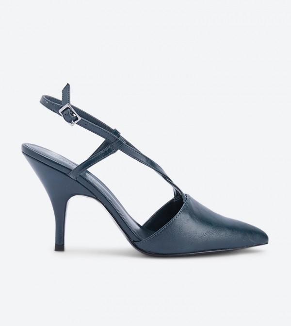 حذاء كعب عالي بلون أخضر داكن