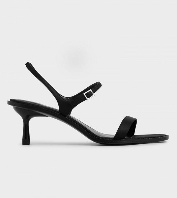 Satin Embellished Heeled Sandals  - Black