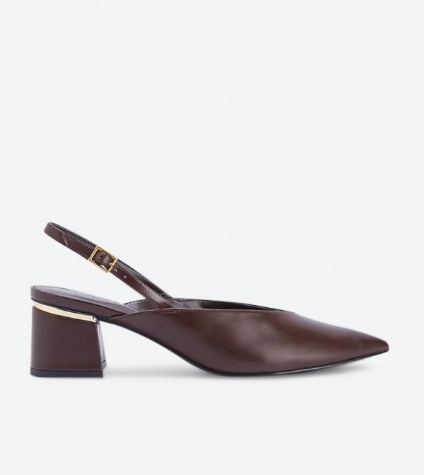 حذاء بكعب عريض لون بني