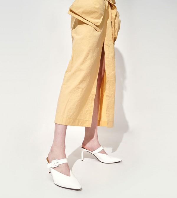 Mary Jane Strap Stiletto Mules - White