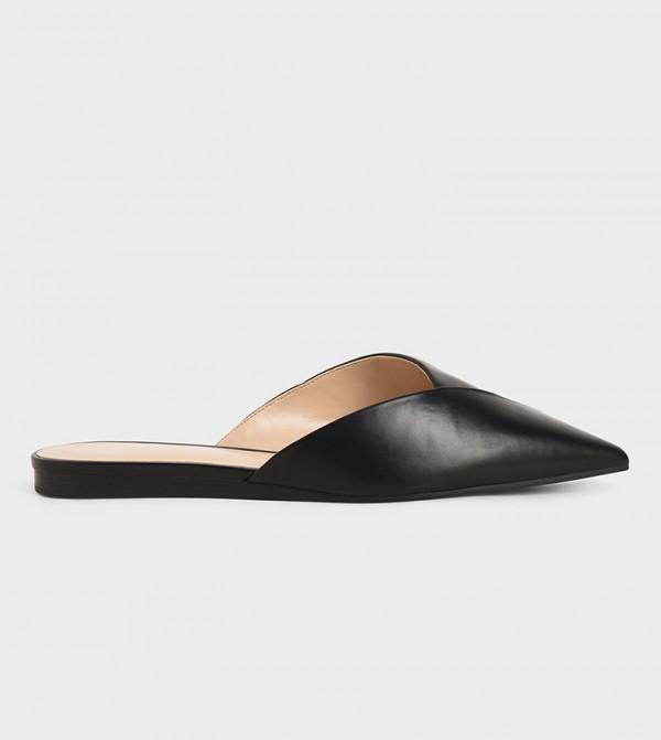 Asymmetric Cut Flat Mules - Black