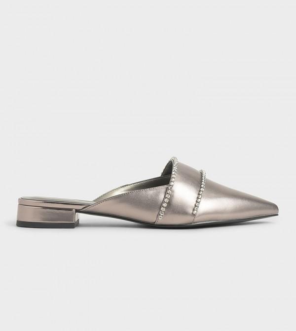 Metallic Embellished Flat Mules - Pewter